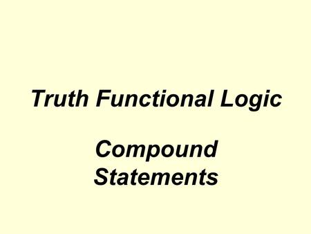 Truth Functional Logic