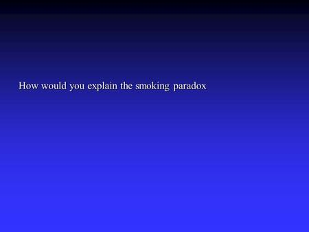 How would you explain the smoking paradox. Smokers fair better after an infarction in hospital than non-smokers. This apparently disagrees with the view.