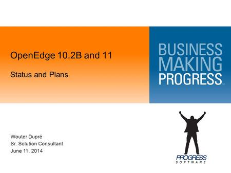 OpenEdge 10.2B and 11 Status and Plans Wouter Dupré Sr. Solution Consultant June 11, 2014.