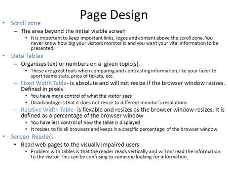 Page Design Scroll zone Data Tables Screen Readers