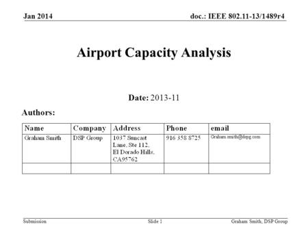 Doc.: IEEE 802.11-13/1489r4 Submission Jan 2014 Airport Capacity Analysis Date: 2013-11 Authors: Graham Smith, DSP GroupSlide 1.