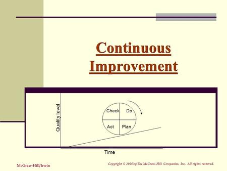 Continuous Improvement Check Do Act Plan Time Quality level Copyright © 2006 by The McGraw-Hill Companies, Inc. All rights reserved. McGraw-Hill/Irwin.