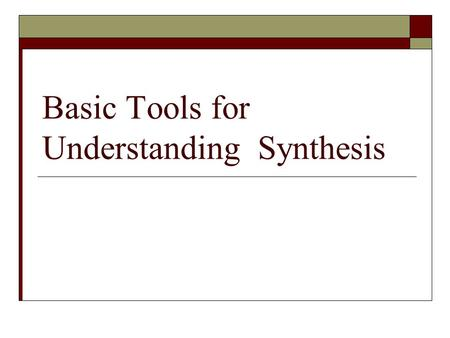 Basic Tools for Understanding Synthesis. Synthesizer A musical instrument that produces waveforms, typically in the audio range of about 20 to 20,000.
