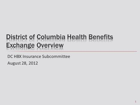 DC HBX Insurance Subcommittee August 28, 2012 1. What is the DC HBX? 2.