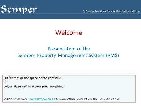 Semper Property Management System (PMS)