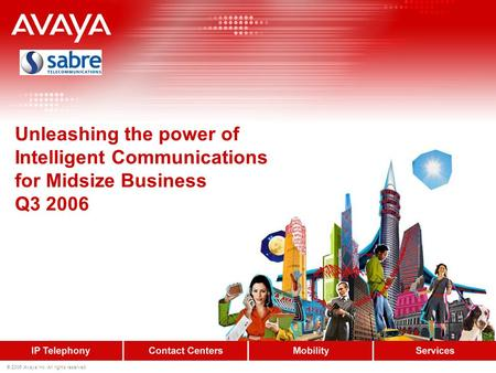 © 2006 Avaya Inc. All rights reserved. Unleashing the power of Intelligent Communications for Midsize Business Q3 2006.