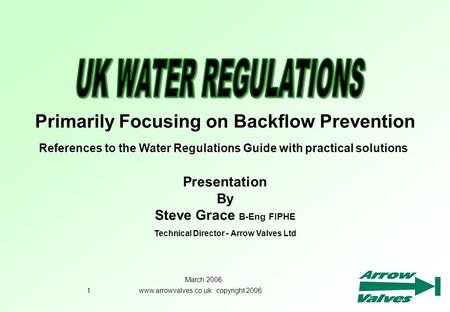 Primarily Focusing on Backflow Prevention