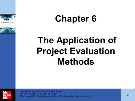 Chapter 6 The Application of Project Evaluation Methods