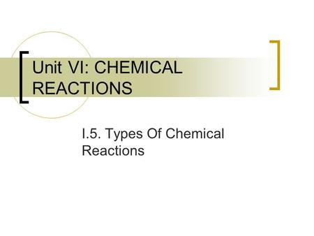 Unit VI: CHEMICAL REACTIONS I.5. Types Of Chemical Reactions.