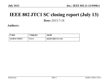 Doc.: IEEE 802.11-13/0908r1 Submission July 2013 Andrew Myles, CiscoSlide 1 IEEE 802 JTC1 SC closing report (July 13) Date: 2013-7-18 Authors: