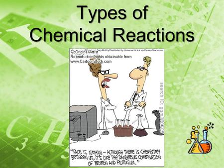 Types of Chemical Reactions. Combination Reaction *Also known as Synthesis A + B AB Putting together elements (or compounds) to make a compound. 2Mg +