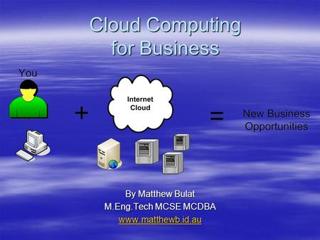 Cloud Computing for Business By Matthew Bulat M.Eng.Tech MCSE MCDBA www.matthewb.id.au.