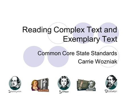 Reading Complex Text and Exemplary Text Common Core State Standards Carrie Wozniak.