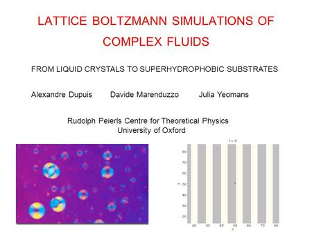 LATTICE BOLTZMANN SIMULATIONS OF COMPLEX FLUIDS Alexandre Dupuis Davide Marenduzzo Julia Yeomans FROM LIQUID CRYSTALS TO SUPERHYDROPHOBIC SUBSTRATES Rudolph.