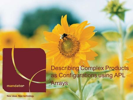 Describing Complex Products as Configurations using APL Arrays.