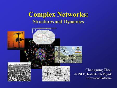 Complex Networks: Complex Networks: Structures and Dynamics Changsong Zhou AGNLD, Institute für Physik Universität Potsdam.