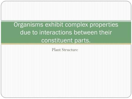 Plant Structure Organisms exhibit complex properties due to interactions between their constituent parts.