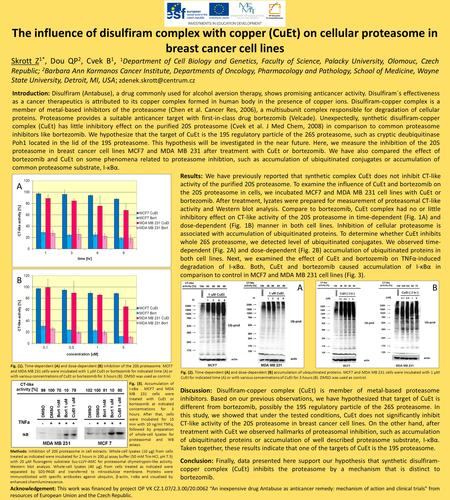 The influence of disulfiram complex with copper (CuEt) on cellular proteasome in breast cancer cell lines Skrott Z 1*, Dou QP 2, Cvek B 1, 1 Department.