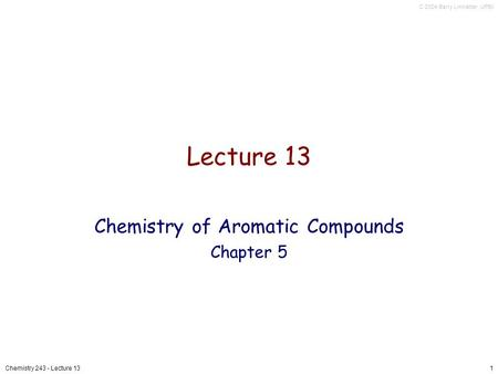 Chemistry of Aromatic Compounds Chapter 5