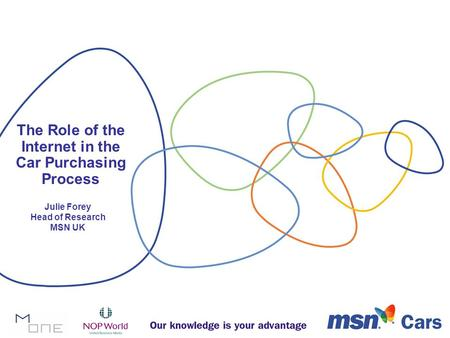 The Role of the Internet in the Car Purchasing Process Julie Forey Head of Research MSN UK.