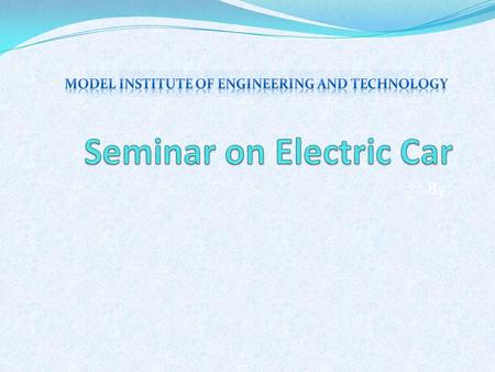 Seminar on Electric Car