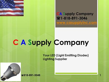 CA Supply 818-891-3046 1 C A Supply Company Your LED (Light Emitting Diodes) Lighting Supplier CA Supply Company 1-818-891-3046 www.casupplyinc.com.