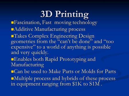 3d printing presentation |authorstream.