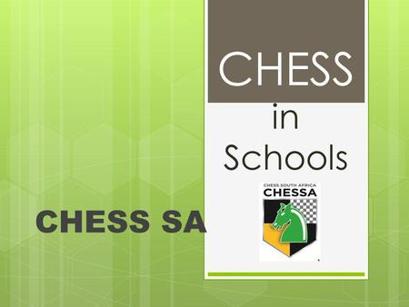 CHESS in Schools CHESS SA. Structure of Chess Present structure NationalNo provincialRegional/Unions Proposed structure NationalProvincialRegional, UnionsSchool.