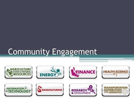 Community Engagement. ISLE Vision for the Future - Examples Connect to mentors. Find student organizations. Find challenges. Connect to project management.