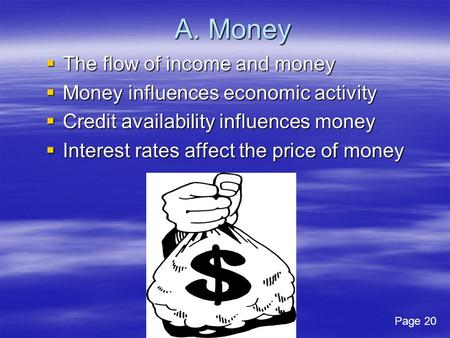A. Money The flow of income and money The flow of income and money Money influences economic activity Money influences economic activity Credit availability.