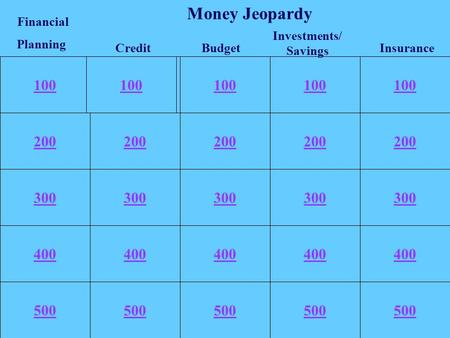 100 200 300 400 500 100 200 300 400 500 100 Investments/ Savings Budget Financial Planning Credit Money Jeopardy Insurance.