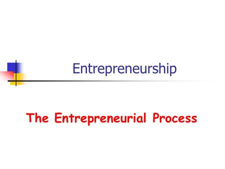 Entrepreneurship The Entrepreneurial Process. What does it take to get started?