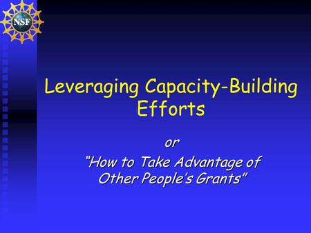 Leveraging Capacity-Building Efforts or How to Take Advantage of Other Peoples Grants.