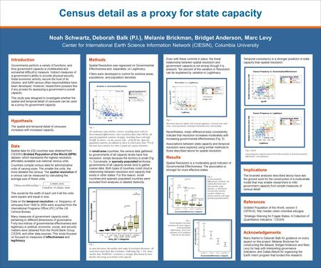 Census detail as a proxy for state capacity Noah Schwartz, Deborah Balk (P.I.), Melanie Brickman, Bridget Anderson, Marc Levy Center for International.