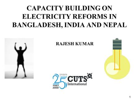 1 CAPACITY BUILDING ON ELECTRICITY REFORMS IN BANGLADESH, INDIA AND NEPAL RAJESH KUMAR.