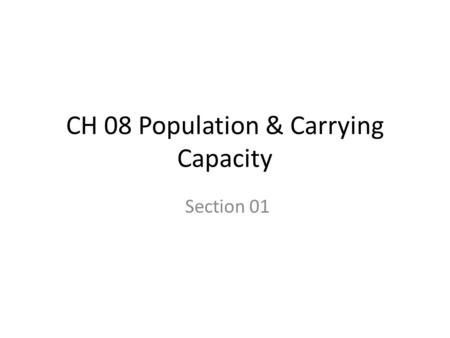 CH 08 Population & Carrying Capacity