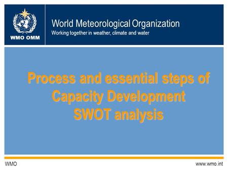 World Meteorological Organization Working together in weather, climate and water WMO OMM WMO www.wmo.int Process and essential steps of Capacity Development.