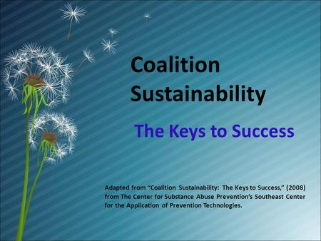Coalition Sustainability The Keys to Success Adapted from Coalition Sustainability: The Keys to Success, (2008) from The Center for Substance Abuse Preventions.