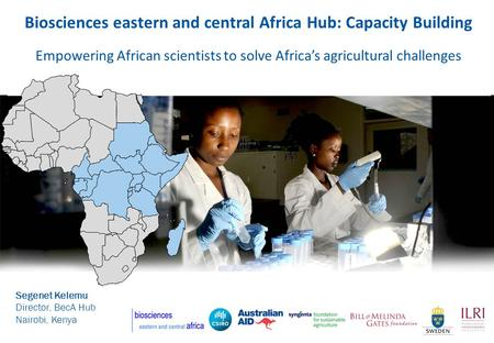 Biosciences eastern and central Africa Hub: Capacity Building Empowering African scientists to solve Africas agricultural challenges Segenet Kelemu Director,