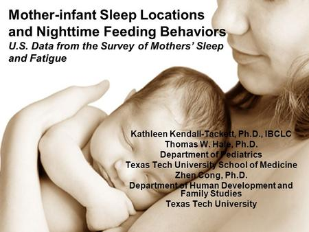 Mother-infant Sleep Locations and Nighttime Feeding Behaviors U.S. Data from the Survey of Mothers Sleep and Fatigue Kathleen Kendall-Tackett, Ph.D., IBCLC.