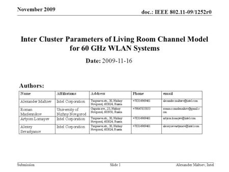Doc.: IEEE 802.11-09/1252r0 Submission November 2009 Inter Cluster Parameters of Living Room Channel Model for 60 GHz WLAN Systems Date: 2009-11-16 Authors: