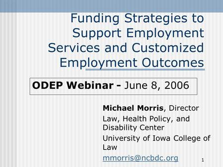 1 Funding Strategies to Support Employment Services and Customized Employment Outcomes Michael Morris, Director Law, Health Policy, and Disability Center.