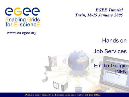 EGEE is a project funded by the European Union under contract IST-2003-508833 EGEE Tutorial Turin, 18-19 January 2005 www.eu-egee.org Hands on Job Services.