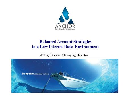 Balanced Account Strategies in a Low Interest Rate Environment Jeffrey Brewer, Managing Director Bespoke financial vision.