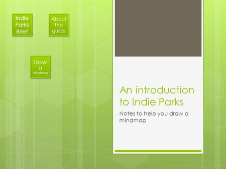 An introduction to Indie Parks Notes to help you draw a mindmap Indie Parks Brief Indie Parks Brief About the guide About the guide Draw a mindmap Draw.