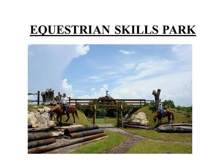 EQUESTRIAN SKILLS PARK. Vision Statement The Equestrian Skills Park (official name pending) will be a dynamic and fun venue that will inspire equestrians.