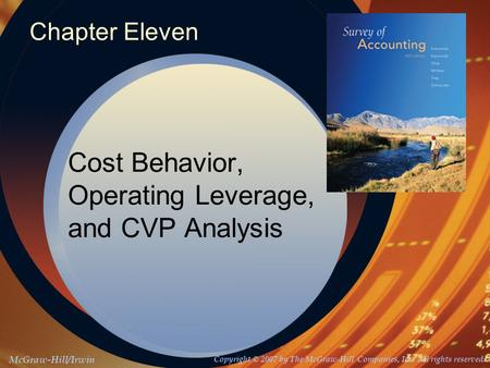 McGraw-Hill/Irwin Copyright © 2007 by The McGraw-Hill Companies, Inc. All rights reserved. Chapter Eleven Cost Behavior, Operating Leverage, and CVP Analysis.