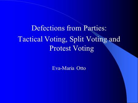 Defections from Parties: