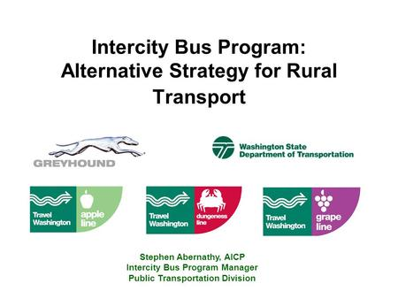 Intercity Bus Program: Alternative Strategy for Rural Transport