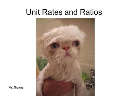 Unit Rates and Ratios Mr. Swaner.